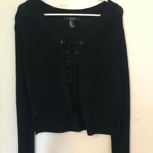 Lace up black sweater